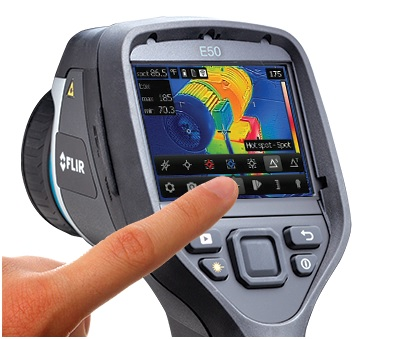 Thermal Imaging cameras detect temperature differential. Different colors correspond to different temperatures, so an inspector is able to identify areas that are abnormally hot or cold.